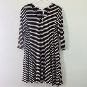 Boutique   black and white stripe dress cross neck